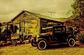 car at shop in countryside, retro illustration