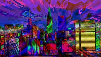 colorful city lights, abstract illustration