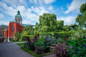 beautiful park in old town, sweden, stockholm, gamla stan