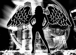 angel woman silhouette wing erotic