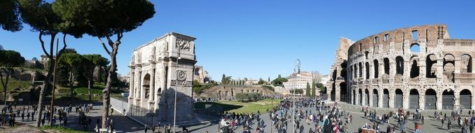The Coliseum and the Arch of Constantine in Rome
