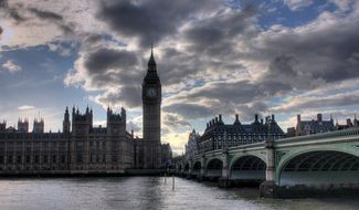 big ben view from thames river, uk, london