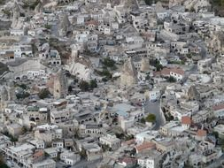 aerial view of castle in old town, turkey, cappadocia, uchisar