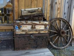 Agricultural equipment in a ghost town in the wild west