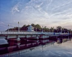 pocomoke city bridge, drawbridge at evening, usa, maryland