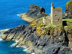 ruined Engine houses at Crown Mines on cliff at sea, uk, england, cornwall