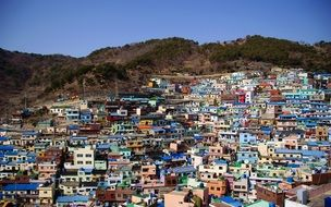 brightly painted houses of Gamcheon Culture Village, korea, busan