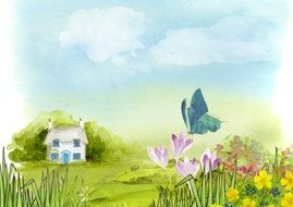 spring background with flowers, butterfly and small house, artwork