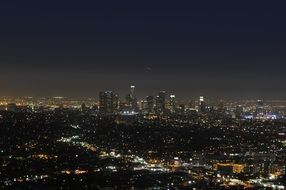aerial view of night city, usa, california, los angeles