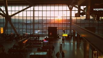 london heathrow airport at sunrise, view from terminal, uk, england