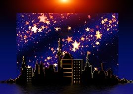 colorful christmas greeting card with stars above city