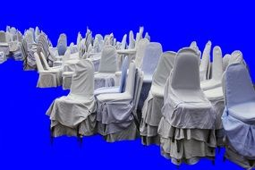 white chairs blue background