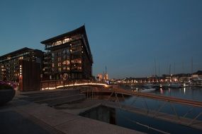 buildings at harbour at dusk, norway, oslo