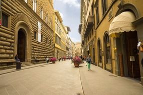 beautiful pedestrian street in old city, italy, florence