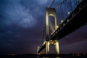 low angle view of brooklyn bridge at dusk, usa, manhattan, nyc