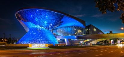 bmw welt architecture at night in munich