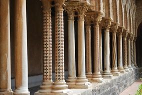 columns in cloister of the abbey of Monreale, italy, Sicily