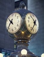 vinage clock in concourse of grand central station, usa, new york city