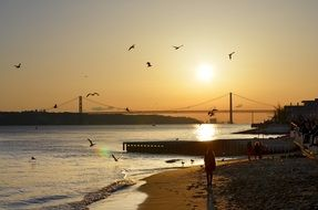 suspension bridge across river at sunset sky, portugal, lisbon