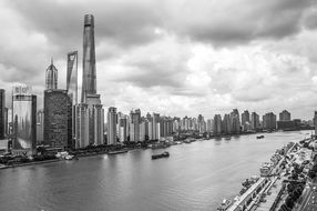 tall buildings on Huangpu river in Shanghai