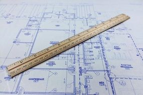ruler on blueprint, architecture concept