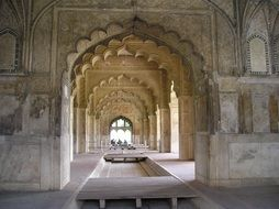 red fort, ancient interior, india, delhi