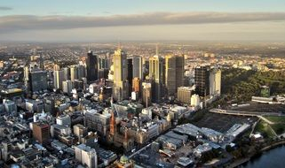 top view of city with skyscrapers, australia, melbourne