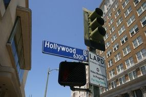 hollywood, street sign at traffic light in city, usa, california, los angeles