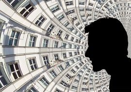 male face silhouette at circular facade, collage