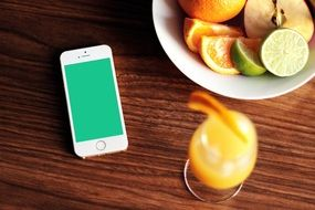 smartphone and oranges