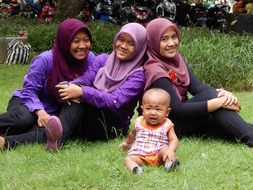 family women baby kids indonesian