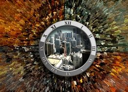 elapsed time, colorful collage with cityscape in dial