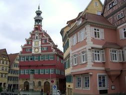 beautiful old buildings on town hall square, germany, esslingen
