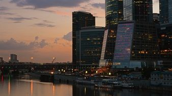 skyscrapers of moscow-city at dusk, russia, moscow