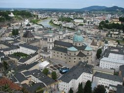roof view of old town, austria, salzburg