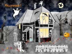 halloween illustration with ghosts at house