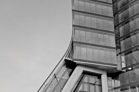 fragment of modern facade, black and white