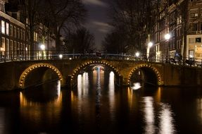 arched bridge across channel at night lights, netherlands, amsterdam