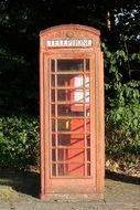 vintage red phone booth outdoor
