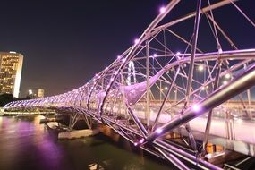singapore helix bridge at night