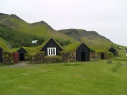 houses with a green roof as part of Iceland