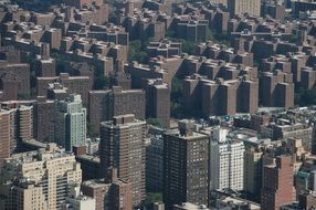 top view of urban buildings, usa, new york city, bronx