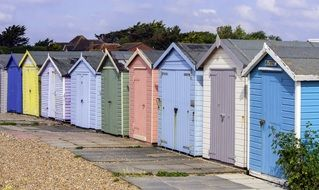 beach huts houses wooden
