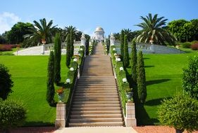 beautiful Bahai Gardens and Shrine on Mount Carmel, israel, haifa