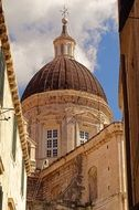 dome of velika gospa cathedral at sky, croatia, dubrovnik