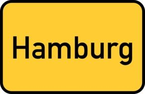 hamburg yellow town sign