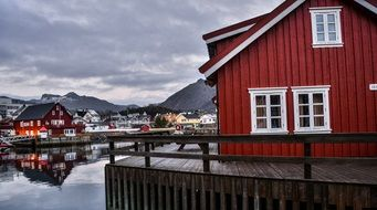 houses by the lake in lofoten