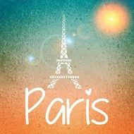 orange and green background with eiffel tower silhouette, paris