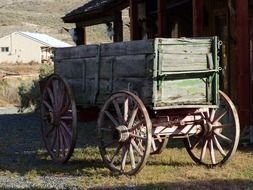 wooden wagon western style at an abandoned ranch in British Columbia