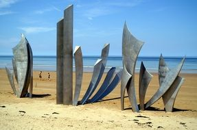 Les Braves monument on omaha beach, france, normandy